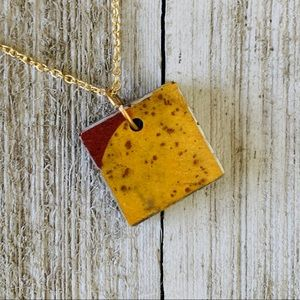 Handmade small resin pendant necklace